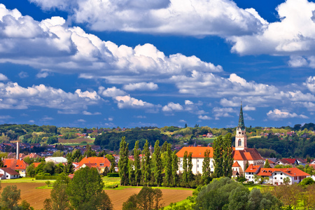Town of Krizevci cathedral and green landscape view, northern Croatia 版權商用圖片