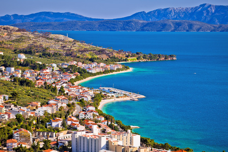 View of Tucepi waterfront in Makarska riviera, Dalmatia region of Croatia Stock Photo