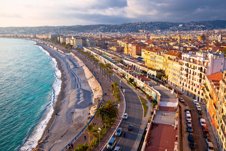 City of Nice Promenade des Anglais waterfront aerial view, French riviera, Alpes Maritimes department of France Standard-Bild - 119074415