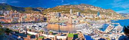 Monaco and Monte Carlo cityscape and harbor colorful panoramic view, Principality of Monaco