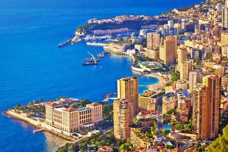 Monaco and Monte Carlo cityscape and harbor aerial view, Principality of Monaco Stock Photo