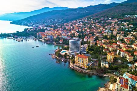 Scenic coastline of Opatija and Lungomare seaside walkway aerial view, Kvarner bay of Croatia 版權商用圖片