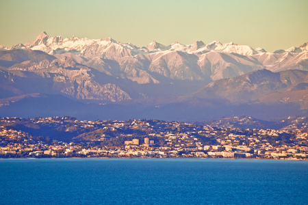 French Alps snow peaks view from Cap Antibes, southern France