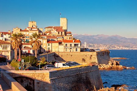 Antibes historic old town seafront and landmarks view, famous destination in Cote d Azur, France Imagens
