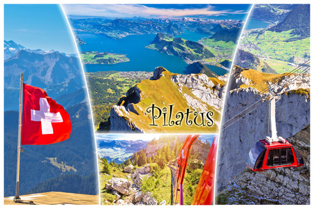 Pilatus mountain peak and Lucerne lake postcard collage view with label, alpine peak in Switzerland Banque d'images - 119074076