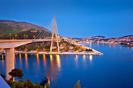Dubrovnik Franjo Tudjman bridge and harbor evening view, southern Dalmatia region of Croatia
