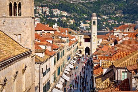 Famous Stradun street in Dubrovnik view from walls, Dalmatia region of Croatia