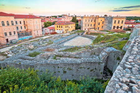 Town of Pula old Roman theater ruins view, Istria region of Croatia