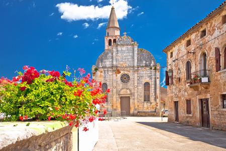 Village of Svetvincenat ancient square and church view, Istria region of Croatia
