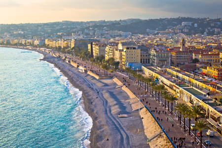 City of Nice Promenade des Anglais waterfront and beach view, French riviera, Alpes Maritimes department of France
