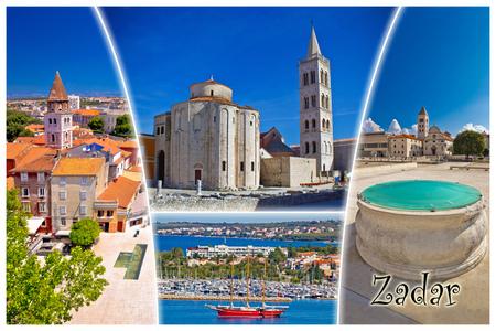 Town of Zadar tourist postcard with label, famous landmarks and beautiful nature of Dalmatia, Croatia