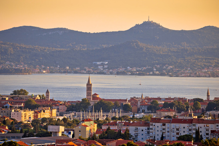 Dalmatian city of Zadar panoramic view with Island of Ugljan, Croatia, Dalmatia Stock Photo