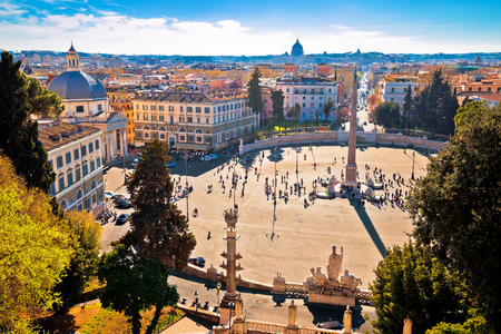 Piazza del Popolo or Peoples square in eternal city of Rome view from above, capital of Italy