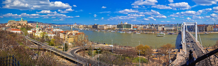 Budapest Danube river waterfront panoramic view, capital of Hungary