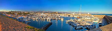 Anntibes waterfront anf Port Vauban harbor panoramic view, Southern France