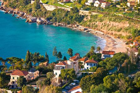 Cap Martin near Monaco idyllic bay and beach view, Southern France