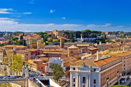 Rome rooftops and colorful cityscape panoramic view, capital of Italy