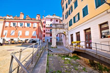 Arco di Riccardo colorful square in Trieste street view, Friuli Venezia Giulia region of Italy