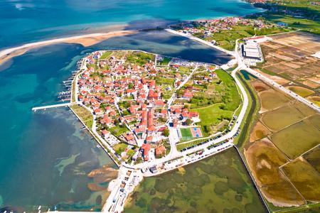 Historic town of Nin laguna and salt fields aerial panoramic view, Dalmatia region of Croatia