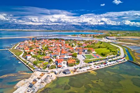 Historic town of Nin laguna aerial view, Dalmatia region of Croatia