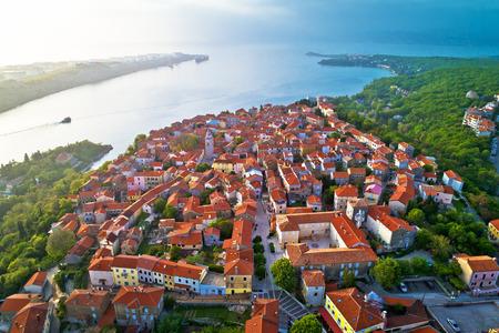 Town of Omisalj on Krk island aerial view, Kvarner bay of Croatia