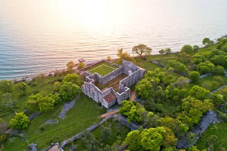 Island of Krk Fulfinum Mirine basilica ruins near Omišalj aerial view, Kvarner bay of Croatia