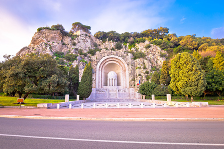 Hill carved Monument aux morts de Rauba-Capeu in Nice, French riviera 版權商用圖片