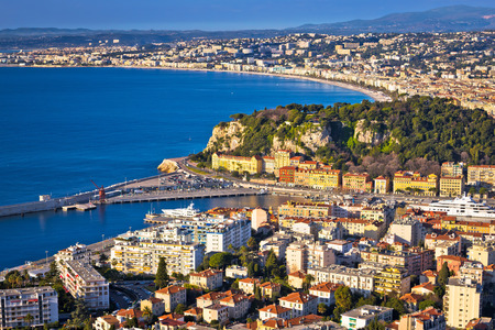 City of Nice colorful waterfront and yachting harbor aerial view, French riviera, Alpes Maritimes department of France
