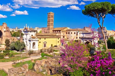 Schilderachtig panoramisch uitzicht in de lente over de ruïnes van het Forum Romanum in Rome, de hoofdstad van Italië Stockfoto
