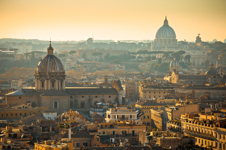 Eternal city of Rome rooftops and towers golden sunset view, capital of Italy