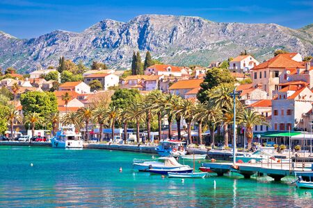 Miasto Cavtat kolorowy widok na nabrzeże Adriatyku, Południowa Dalmacja, Chorwacja Zdjęcie Seryjne