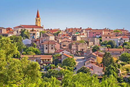 Old stone town of Brtonigla on green hill view, town in Istria, Croatia
