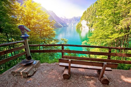 Konigssee Alpine lake idyllic sun haze view, Berchtesgadener Land, Bavaria, Germany