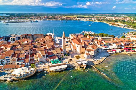 Town of Umag historic coastline architecture aerial view, archipelago of Istria region, Croatia Reklamní fotografie