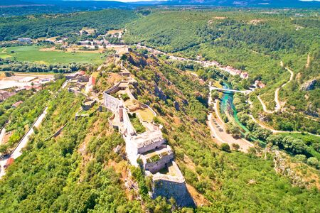 Knin fortress and Krka river aerial view, second largest fortress in Croatia Reklamní fotografie
