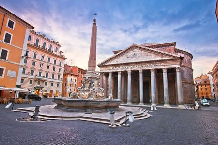 Pantheon square ancient landmark in eternal city of Rome dawn view, capital of Italy