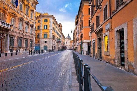 Colorful empty street of Rome dawn view, eternal city and capital of Italy 写真素材