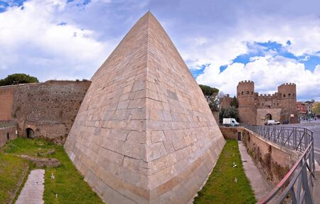 The Pyramid of Cestius and Porta San Paolo in eternal city of Rome view, capital of Italy Reklamní fotografie