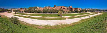 The Circus Maximus and ancient Rome landmarks panoramic view, Eternal city, Italy