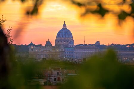 The Papal Basilica of Saint Peter and Vatican city sunset view, Rome landmarks in capital city of Italy