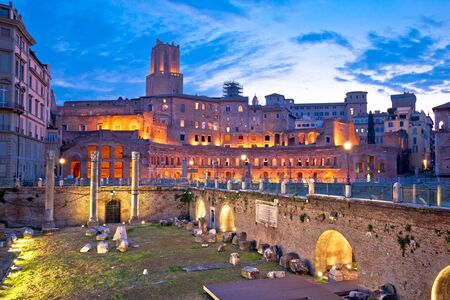 Ancient Trajans market and Forum square of Rome dawn view, capital city of Italy Reklamní fotografie