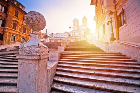 Spanish steps famous landmark of Rome morning sunrise view, Eternal city and capital of Italy