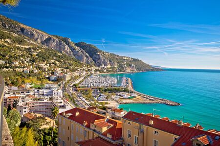 Town of Menton bay and French Italian border on Mediterranean coast view, southern France and Italy