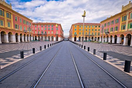 City of Nice Place Massena square colorful view, tourist destination of Franch riviera, Alpes Maritimes department of France Reklamní fotografie