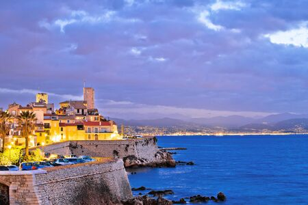 Antibes historic old town seafront and landmarks dawn view, famous destination in Cote d Azur, France