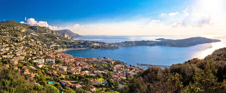 Villefranche sur Mer and Cap Ferrat on French riviera coastline panoramic view, Alpes-Maritimes region of France