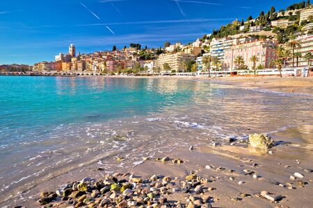 Colorful Cote d Azur town of Menton beach and architecture view, Alpes-Maritimes department in southern France Reklamní fotografie