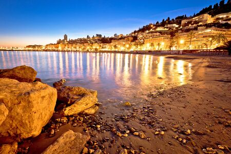 Colorful Cote d Azur town of Menton beach and architecture evening view, Alpes-Maritimes department in southern France