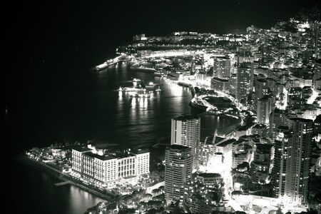 Monte Carlo waterfront evening black and white view, Principality of Monaco
