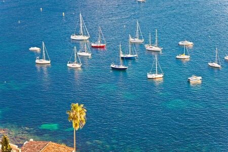 Villefranche sur Mer idyllic French riviera bay sailing destination from above,  Alpes-Maritimes region of France Reklamní fotografie